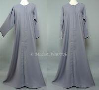 Dubai Abaya Classic Open Everyday Muslim Women Dress Nida Light Gray