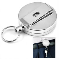 Steel Recoil Retractable Key Ring Belt Clip Metal Pull Chain for ID Card Holder