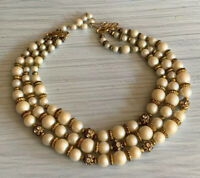 Vintage Deauville Three Strand Faux Pearl Beaded Rhinestone Necklace
