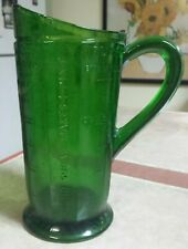 Forrest Green Depression Glass One Quart Measuring Pitcher RARE