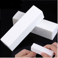 1-10 White Acrylic Nail Tips Buffer Sanding Block Files Manicure Tool UK Seller