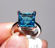 Princess Cut,Big Stone Blue Topaz Lady's Ring, White Gold Plated,Size 6,7,8 only