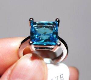 Princess Cut,Big Stone Blue Topaz Lady's Ring, White Gold Plated,Size 7,8 only