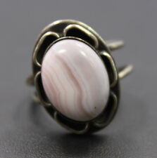 Adjustable Sterling Silver Pink Colored Oval Agate Stone Ring