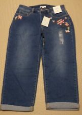 Croft and Barrow ~ Floral Embroidered CAPRI ~ Size 8 ~ NWT