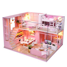 DIY Miniature Dollhouse Kit Realistic Mini 3d Wooden House Room Craft Christmas