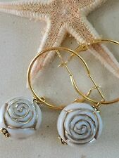 Beautiful Etched Ivory Rose & Gold Tone Dangle Leverback Hoop Earrings.