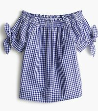 J.CREW Petite Gingham Off The Shoulder Top Blue Sapphire 2P MSRP $68
