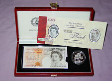 1996 £10 BANKNOTE SET WITH SILVER PROOF £5 CROWN IN DELUXE CASE