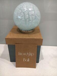 Mother Hand blown Glass Friendship Ball Soft Blue Crackle 165M