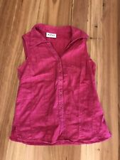 LADIES CUTE PINK COTTON BUTTON FRONT COLLAR SLEEVELESS TOP BY KATIES SIZE 8/10