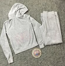 Juicy Couture Small Glitter Velour Track Suit Set Zip Hoodie Drawstring Pants