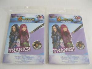 New! Lot Of 2 Packs Disney Descendants Thank You Card Kits - 8 /Pack-16 Total