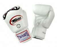 NEW! Twins No Fear Boxing Kickboxing Gloves - White  16 oz - Muay Thai, MMA, UFC