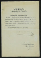 MEXICAN EMPEROR MAXIMILIANO AUTHENTIC HISTORICAL SIGNED DOCUMENT Jul,1865