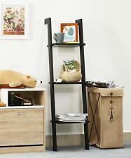 Ladder Wall Shelf Bookcase Storage Display MDF 3 Shelves Shelving Unit Black NEW