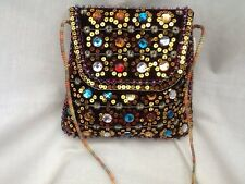 New - Embroidered and Hand-Beaded Shoulder Purse
