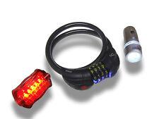 LED Bike Cycle Lights and LED Illuminated Combination Lock Set