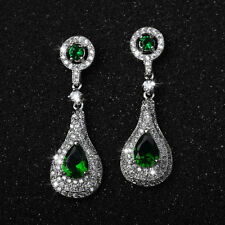 18K WHITE GOLD PLATED EMERALD GREEN CZ & AUSTRIAN CRYSTAL DROP  DANGLE  EARRINGS