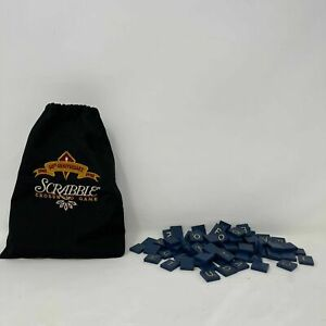 Scrabble 50th Anniversary Collectors Game Blue Tiles Gold Letters & Bag