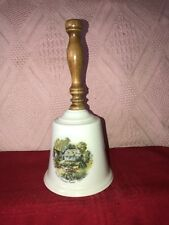 Vintage 9� Porcelain Bell With Wood Handle American Homestead Summer
