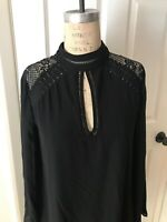 City Studio Black Shift Dress Crochet Trim Long Sleeve Party NEW Size M