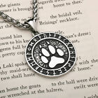 Viking Wolf Paw Print Rune Pendant Stainless Steel Necklace photo