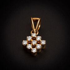 Classy 0.38 Cts Natural Diamonds Square Pendant In Fine Hallmark 18K Yellow Gold