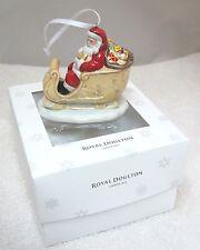 Royal Doulton 2014 Santa & Sleigh Christmas Tree Ornament Mib Hand Painted T71