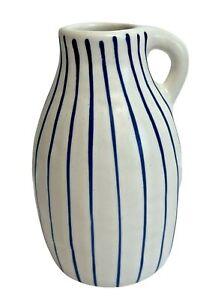 "IKEA Godtagbar Vase 23269 pottery White Small Jug Blue stripes 5.5"" Sweden hand"