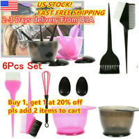 6PCS Hair Dye Color Brush Bowl Set Ear Caps Dye Mix Tint Dying Coloring Tool US-