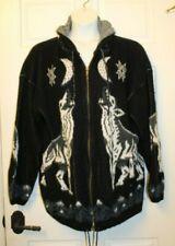 Ruminahui Howling Wolf Wool Sweater Coat Jacket Zip Front Hooded XL Equador