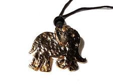 Bijou alliage doré collier sautoir éléphant sur cordon noir  necklace