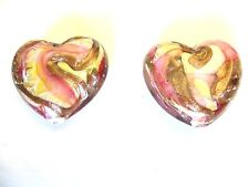 Puffed  Heart Murano Lampwork Glass Beads gold Foil Pink  and Copper Quantity 2