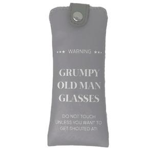Grey Grumpy Old Man Soft Glasses Case PU Novelty Men's Gift Button Closure
