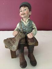 Sarah's Attic Figurine 1990 Weasel Newspaper Boy on Bench