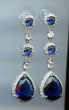 6 CARAT TW LAB CREATED SAPPHIRE & PAVE CZ DANGLE LINEAR STATEMENT EARRINGS