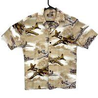 KALAHEO Hawaiian Button Up Shirt WWII Bomber Planes Mens Size S Tan Made In USA