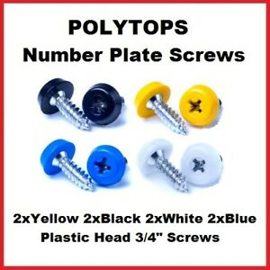 Number Plate Fixing Fitting Oversized Screws 2x White 2x Black 2x Yellow 2x Blue