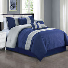 7 Piece Luxury Strip Microfiber Soft Oversized Comforter Sets, Queen Size , Navy