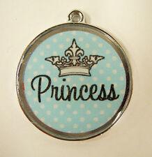 Princess Crown Pastel Blue Polka Dots Designer Pet ID Tags Dog Cat Tag