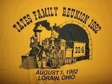 vtg 90s TATES FAMILY REUNION T SHIRT Lorain Ohio Railroad Steam Engine 324 1992