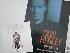 "Don Henley ""Inside Job"" U.S. Promo Poster + Eagles ""Very Best"" Cardboard Flat"