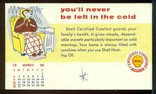 1958 SHELL CO. HEATING OIL Never Be Left in the Cold AD Postcard FREEZING BEAR
