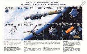 EARTH SATELLITES/Apollo-Soyuz/Skylab/Hubble/MMU Space Stamp Sheet (1997 Uganda)
