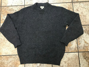 vintage L.L. Bean made in USA sweater wool nylon large Gray Distressed
