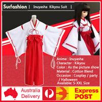 Anime Inuyasha Kikyou Witch Kimono Dress Cosplay Halloween Costume Complete Set