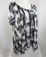 Cynthia Rowley Size 3X Black/White Print Cap Sleeve Scoop Neck Top