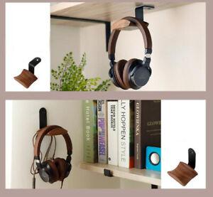 NEW Headphone Stand Hanger Headset Walnut Wood Holder Rack Hook Desk Wall Mount