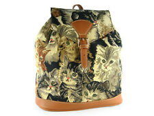 Signare Ladies Girls Tapestry Rucksack / Backpack / Fashion Bag In Cats Design